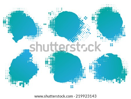 Collection of four ink splats with halftone dots - stock vector