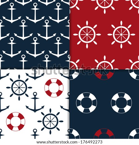 collection of four nautical seamless pattern vector - stock vector
