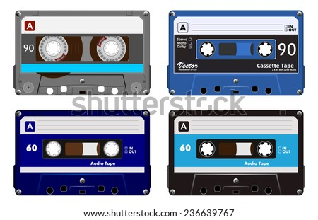 Collection of four plastic audio cassettes tape. Different colorful music tapes. Blue set. old technology, realistic retro design, vector art image illustration, isolated on white background eps10  - stock vector
