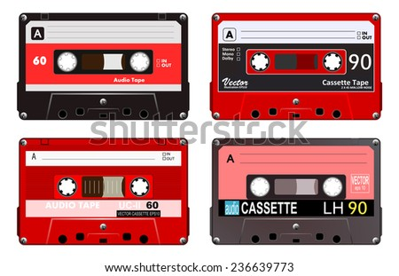 Collection of four plastic audio cassettes tape. Different colorful music tapes. Red set. old technology, realistic retro design, vector art image illustration, isolated on white background eps10  - stock vector