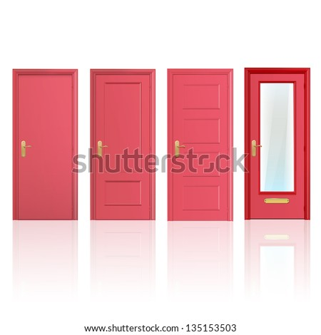 Collection of four red doors, one open and the others closed. Vector design. - stock vector