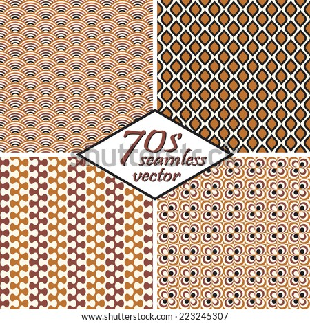 collection of four seamless vintage 70s backgrounds - stock vector
