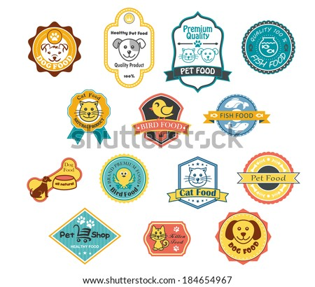 Collection of fourteen colorful pet food labels logo for cat, fish, bird and dog food and one for a pet shop - stock vector