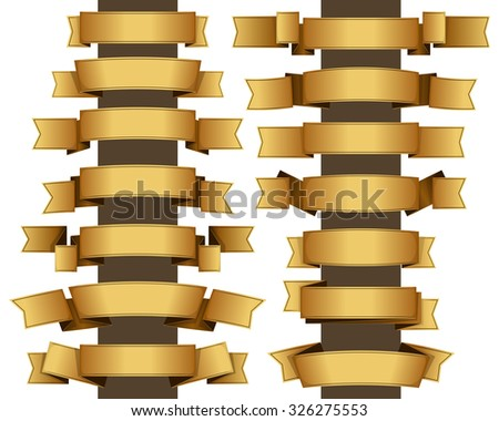 Collection of fourteen gold ribbon. Vector illustration  - stock vector