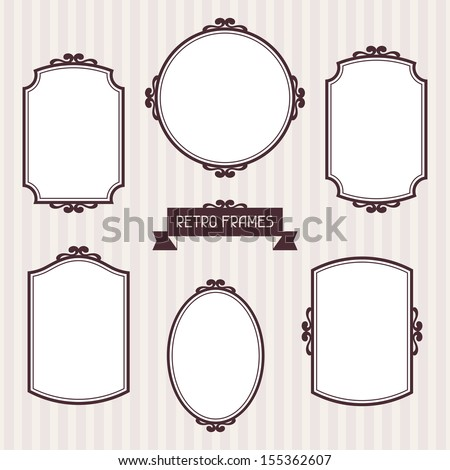 Collection of frames in retro style - stock vector