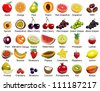 Collection of 35 Fruits icons - stock vector