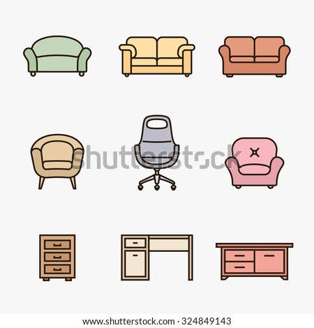 Collection of furniture icons. Furniture retailer icon set. Linear material design style - stock vector