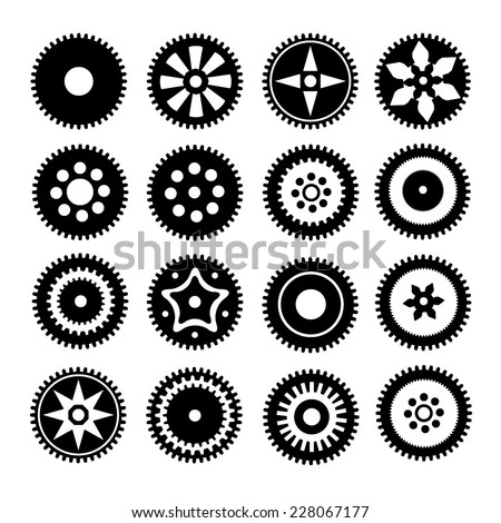Collection of gear wheels isolated on white background - stock vector