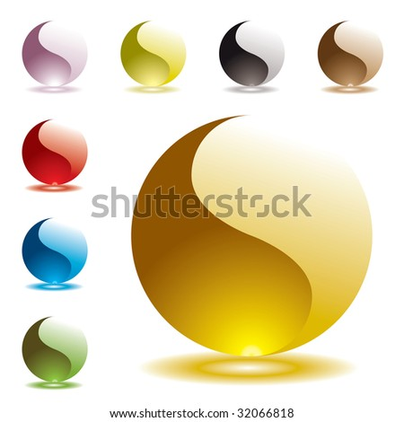 Collection of gel filled marbles with glowing shadow reflection - stock vector