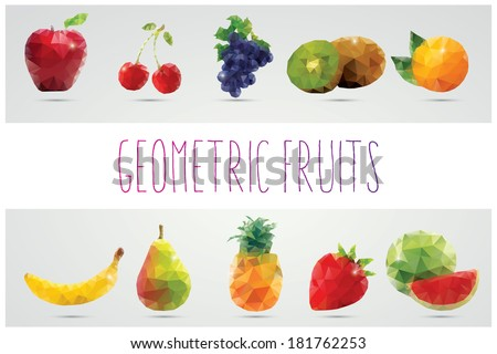 Collection of geometric polygonal fruits, triangles, apple, cherries, grapes, kiwi, orange, banana, pear, pineapple, strawberry, watermelon, vector illustration - stock vector