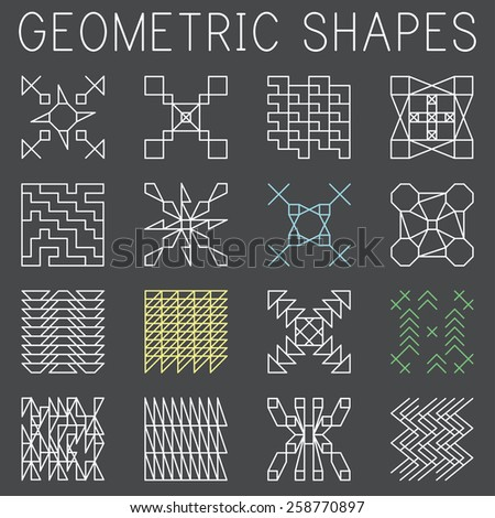Collection of geometric shapes - stock vector