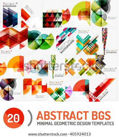 Collection of geometric vector backgrounds - stock vector