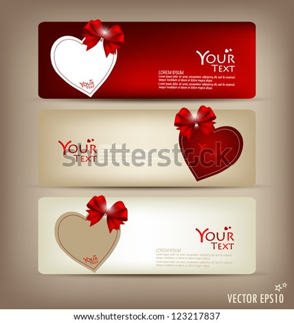 Collection of gift cards and invitations with ribbons. Vector illustration. - stock vector