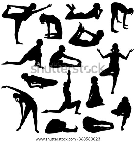 Collection of girl silhouettes in various Yoga poses on a white background. - stock vector