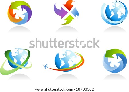 collection of globe icons - for more logos of this type please visit my gallery - stock vector