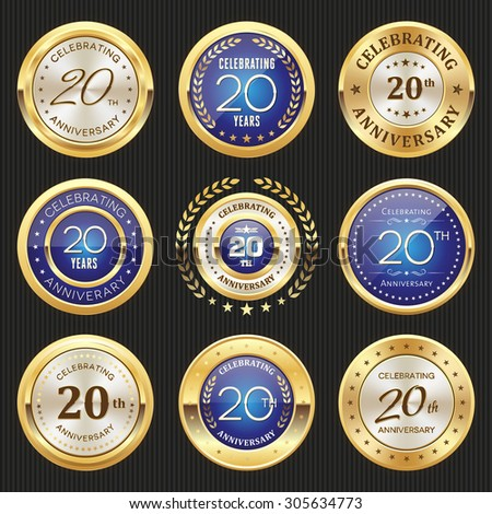 Collection of glossy gold and blue 20th anniversary badges - stock vector