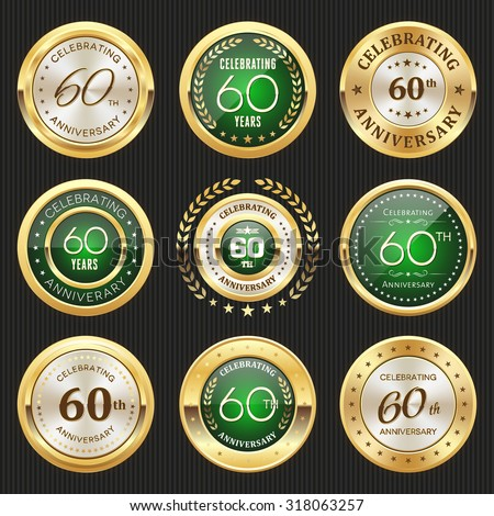 Collection of glossy gold and green 60th anniversary badges - stock vector