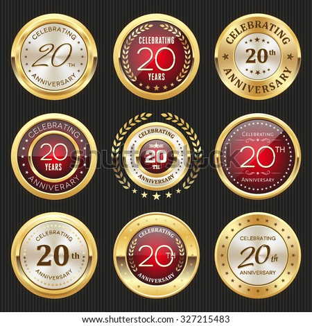 Collection of glossy gold and red 20th anniversary badges - stock vector