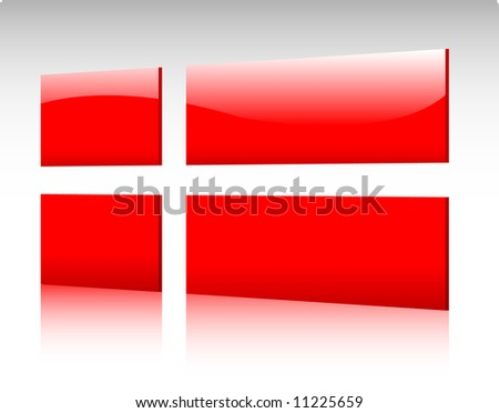 Collection of glossy vectro country flags - Denmark - stock vector