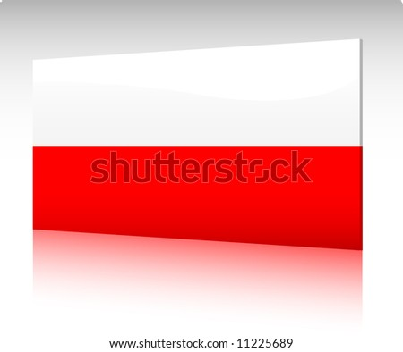 Collection of glossy vectro country flags - Poland - stock vector