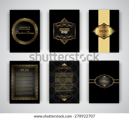 Collection of gold and black brochure and menu templates - stock vector