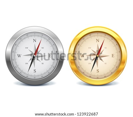 Collection of gold and silver compasses - stock vector
