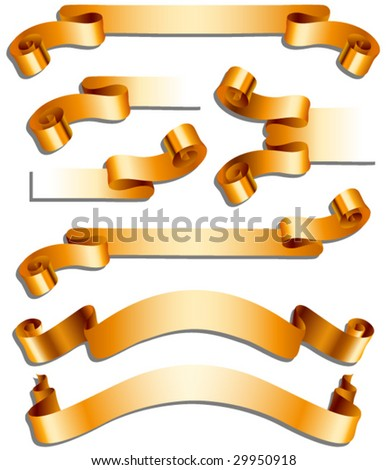 Collection of gold ribbons - stock vector