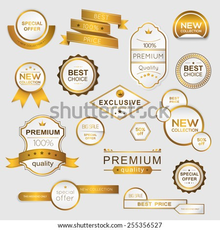 Collection of golden premium promo seals/stickers. isolated vector illustration - stock vector
