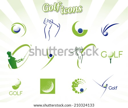 Collection of golf icons isolated on white, vector illustration - stock vector