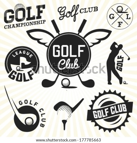Collection of Golf Labels and Badges in Vintage Style - stock vector
