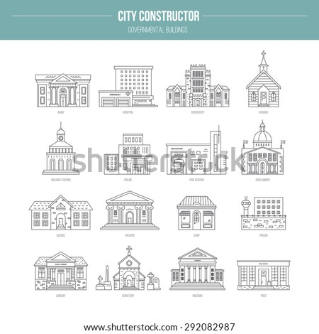 Collection of goverment building icons made in modern line style. Vector city elements for map, web or application. City constructor series.  - stock vector