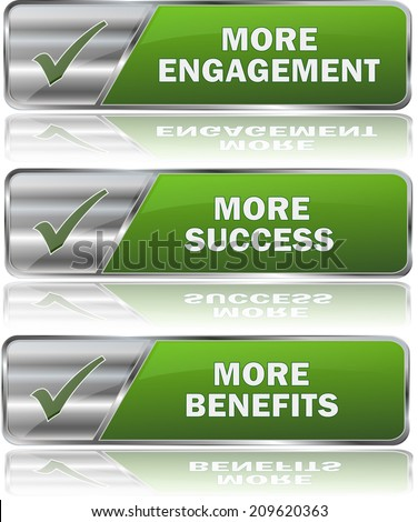 collection of green engagement succes benefits buttons - stock vector