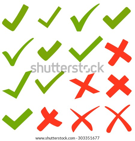 collection of green hooks and red crosses - stock vector