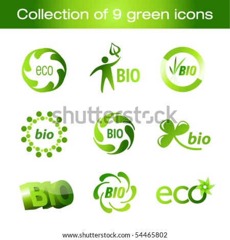 Collection of green icons - stock vector