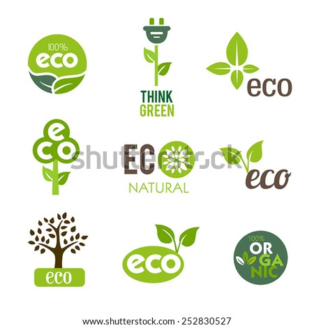 Collection of green icons representing nature and ecological lifestyle. - stock vector