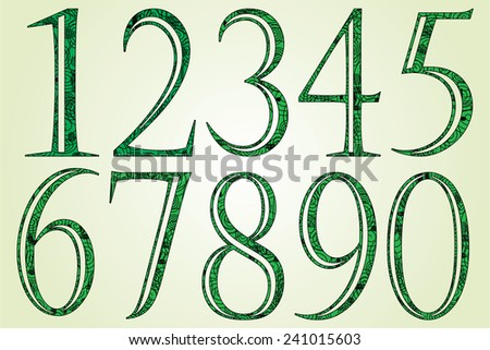 Collection of green numbers made of swirls - Vector illustration - stock vector