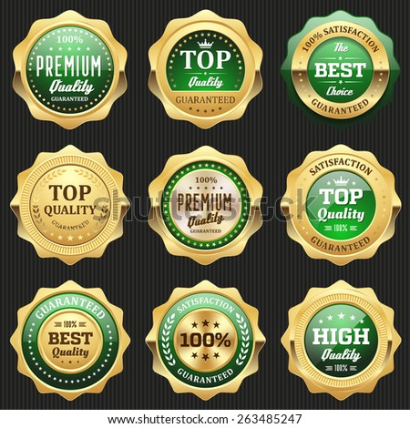 Collection of green top quality badges with gold border - stock vector