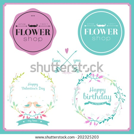 Collection of greeting floral labels and bouquets in vector. Vintage romantic flowers set. Stylish illustration in bright colors can be used like happy birthday or wedding card. - stock vector
