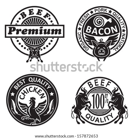 collection of grill labels - stock vector