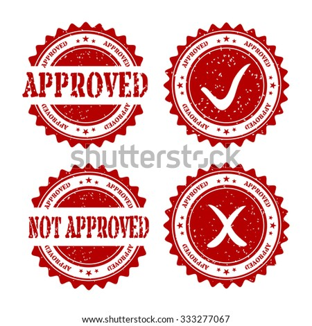 Collection of grunge rubber stamps, approved and not approve, cross and tick - vector illustration - stock vector