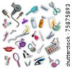 collection of hairdressing, coiffure and make-up accessories stickers. set of vector objects isolated on white background - stock vector