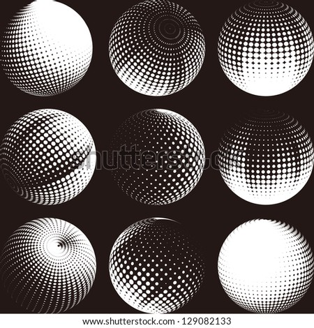 Collection of halftone sphere vector logo set. Abstract globe symbol, isolated round icon, business concept .You can use science and technology, tourism, global financial or environmental background. - stock vector