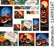 Collection of Halloween banners with place for text. Vector illustration. - stock vector