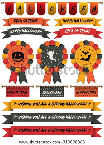 collection of halloween ribbons, bunting and rosettes, isolated on white - stock vector