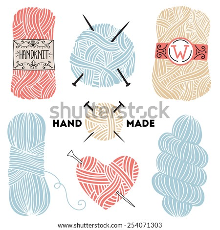 Collection of hand drawn balls of yarn for knitting - stock vector