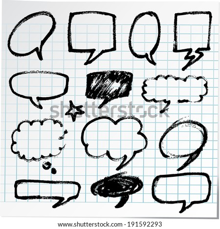 Collection of hand-drawn bubble black pen on paper sheet - stock vector