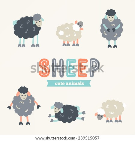 Collection of hand drawn cartoon sheep. Animal characters. Symbol of 2015 year. Perfect for greeting cards, child textile, cartoon illustrations, scrap booking elements, stickers. Vector illustration - stock vector