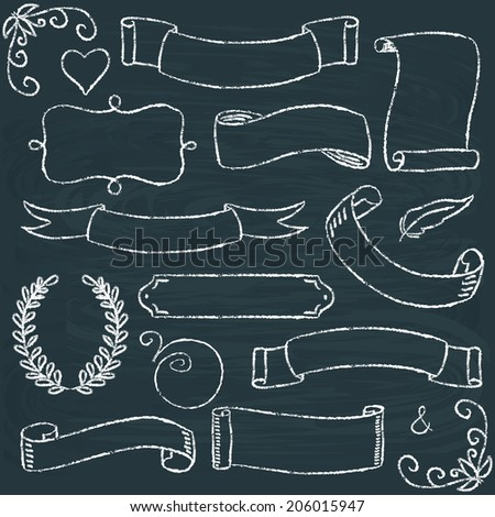 Collection of hand drawn chalkboard frames and scrolls - stock vector