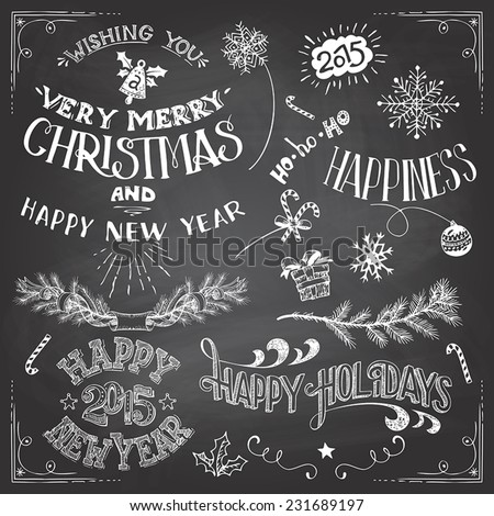 Collection of hand-drawn Christmas and Happy New Year labels and elements. Set of hand-lettering and typographic elements on blackboard background with chalk - stock vector