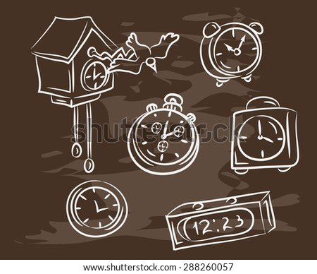Collection of hand-drawn clock on blackboard. Retro vintage style . - stock vector